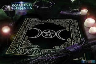 Triple Moon Goddess & Pentagram Altar Cloth Wiccan Witchcraft Tarot Table Cloth